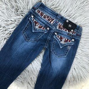 Miss Me Skinny Jeans Sequins JP609554 Red Silver